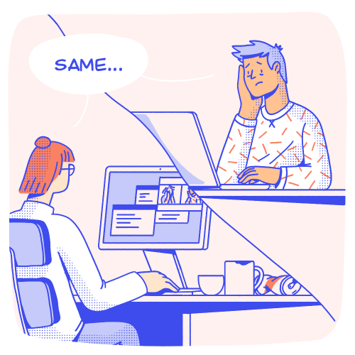 """Team is sitting on a virtual conference call when one member says """"I don't know what the f$*ck I'm doing"""". The others respond with """"same...""""."""