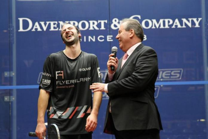 Simon and Alan discuss fashion tips on court at the North American Open