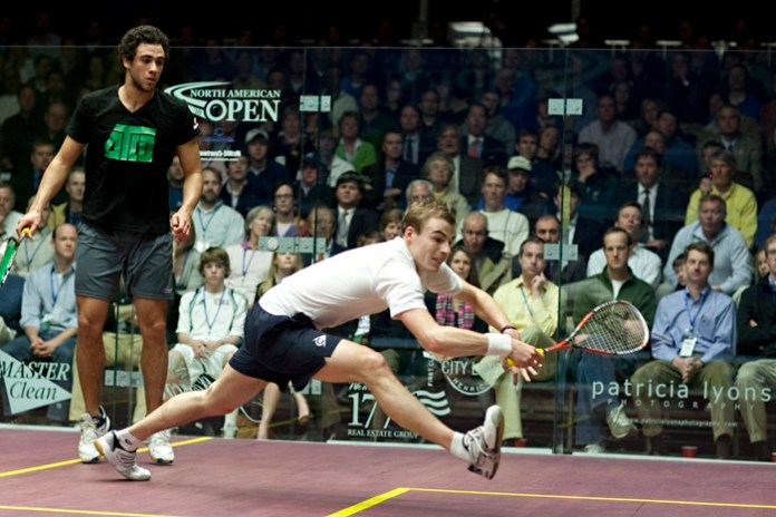 Giving it everything: Nick Matthew is seeded to meet Ramy Ashour in the semi-finals