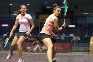 Habiba Mohamed (left) beat No.1 seed Delia Arnold in the semi finals