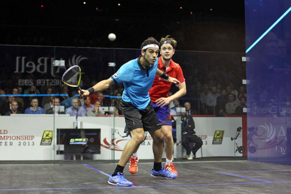 Mohamed Elshorbagy gets in front of James Willstrop in Manchester