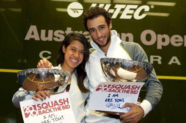 Nicol David and Ramy Ashour, Australian Open champions in 2012
