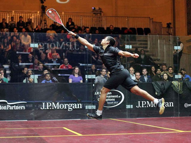 SOARING: Saurav Ghosal in action at Grand Central Station