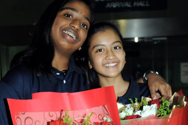 Malaysian juniors Siv Sivasangari and Aifa Azman pictured in The Star
