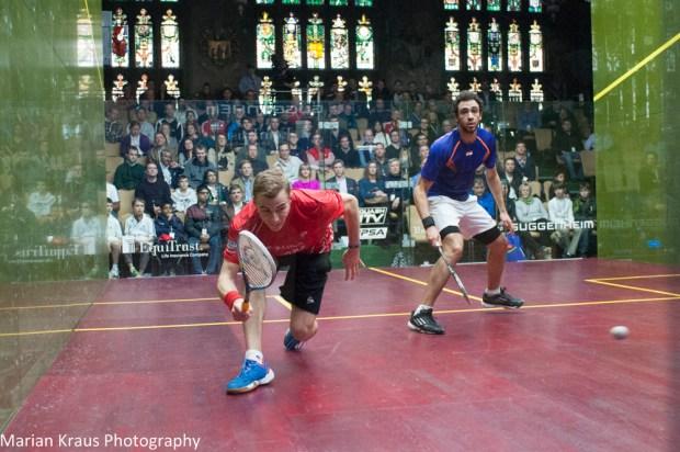 Nick Matthew flicks the ball crosscourt