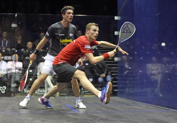 Nick Matthew attacks the front corners against Joe Lee
