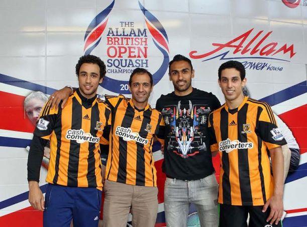 Hull City star Ahmed Elmohamady with Egyptian squash stars Ramy Ashour, Amr Shabana and Tarek Momen.