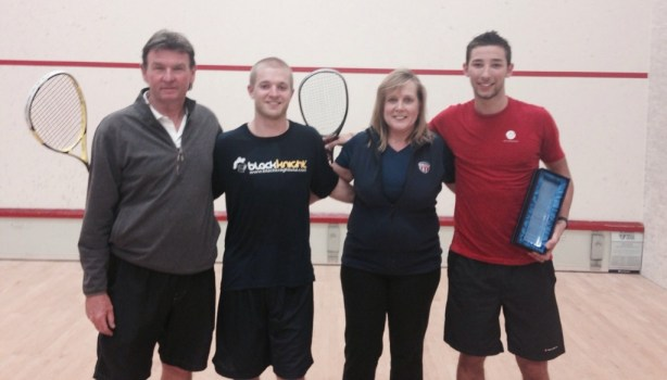 Adam and Charlie at the previous Bay Club tournament with Kim Clearkin and Charlie Johnson