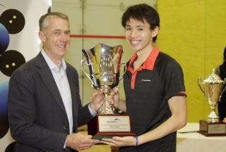 Squash legend Geoff Hunt with Max Lee