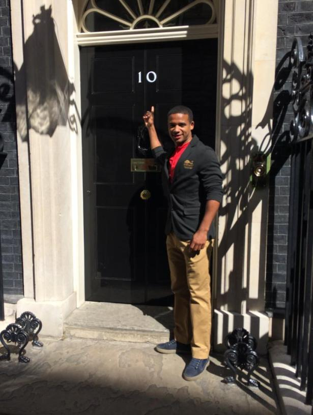 Adrian Grant on the steps of Number 10