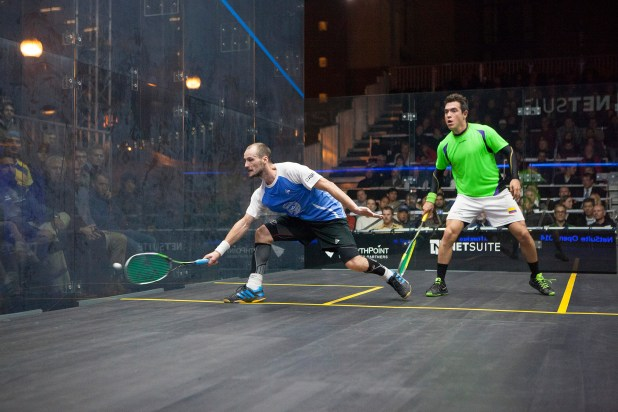 GOLDEN BOY: Gregory Gaultier on the attack against Miguel Angel Rodriguez near the Golden Gate Bridge
