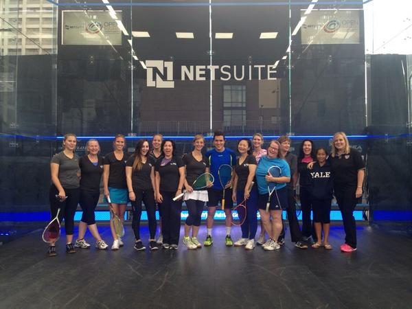 Ladies man: Miguel Rodriguez holds a clinic on the glass court
