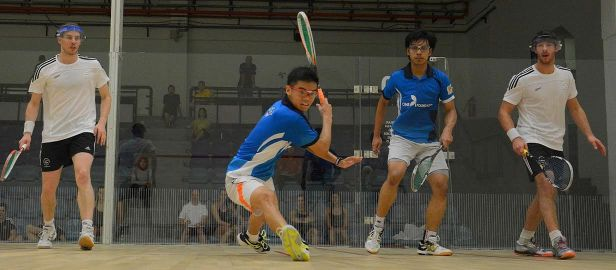 Top juniors Ng Eain Yow (left) and Syafiq Kamal play doubles a the Tri-Nations Invitational just before the Commonwealth Games