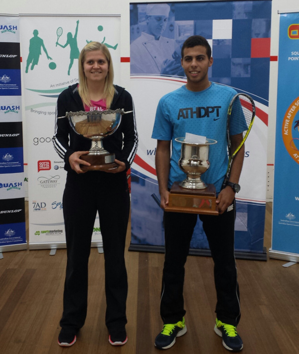 Fiona Moverley and men's champion Mohamed Elgawarhy