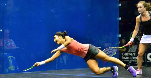 Nicolette Fernandes dives across the court