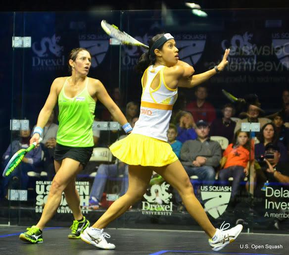 Nicol David sets up a backhand volley