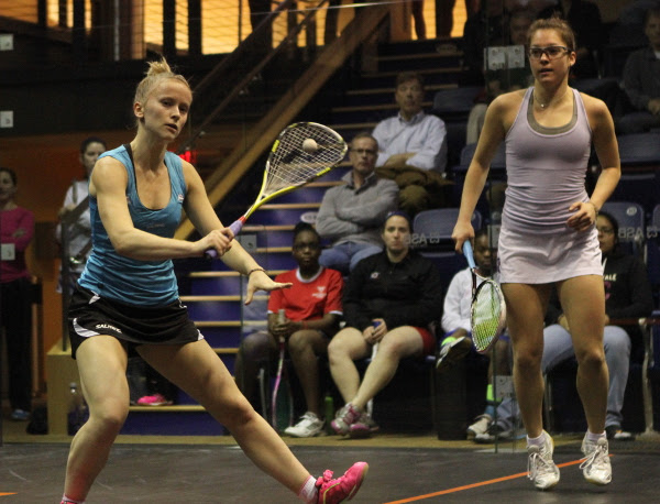 Emily Whitlock lines up a backhand volley against Sabrina Sobhy