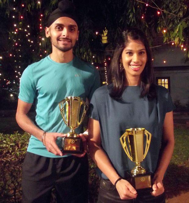 Indian champions Harinder Pal Sandhu and Joshna Chinappa