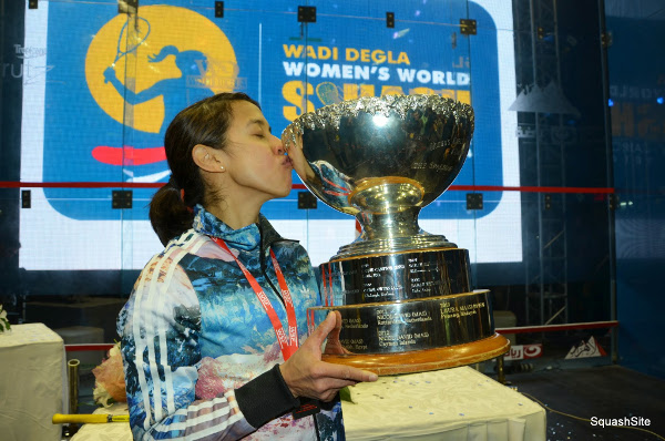 So happy, and so relieved: Nicol David kisses the trophy in Cairo