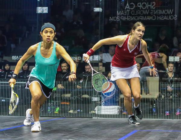 Samantha Cornett (Canada)) in action against Malaysia's Nicol David (left)