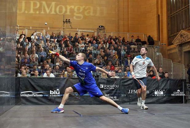 Nick Matthew volleys against Daryl Selby