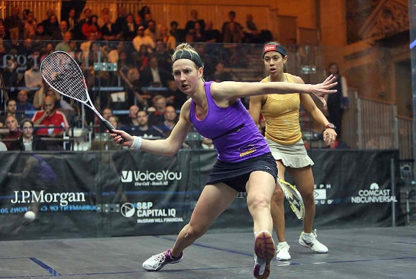 Colourful clothing: Alison Waters shapes up to play a forehand against Nicol David