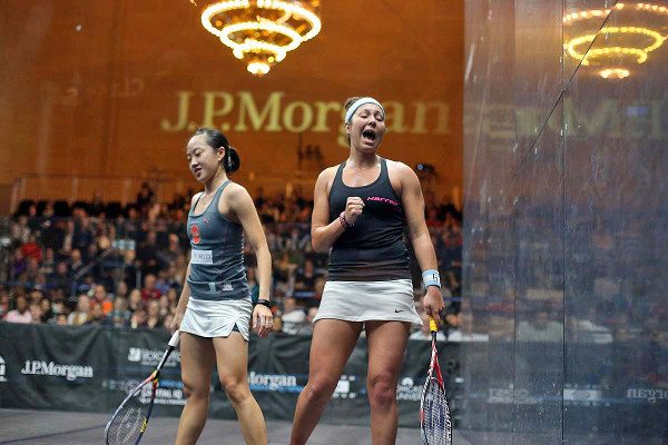 A pumped-up Amanda Sobhy celebrates victory over Low Wee Wern