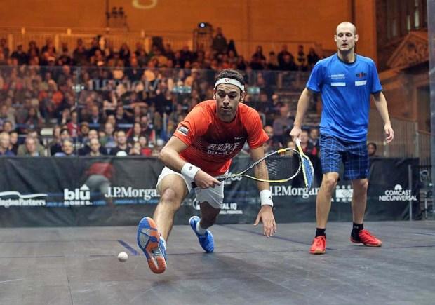Mohamed Elshorbagy jumps on the ball against Nic Mueller