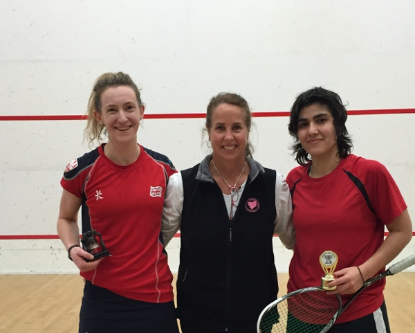 Millie Tomlinson (left) is pictured with runner-up Maria Toorpakai Wazir and former US pro Amy Milanek