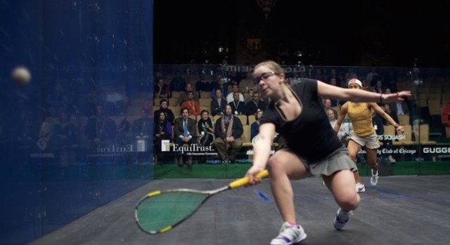 Olivia Blatchford moves forward against Nicol David