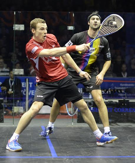 Nick Matthew plays a quick volley