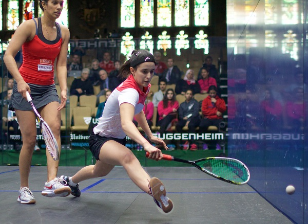 Nour El Tayeb lunges for the ball against Joshua Chinappa