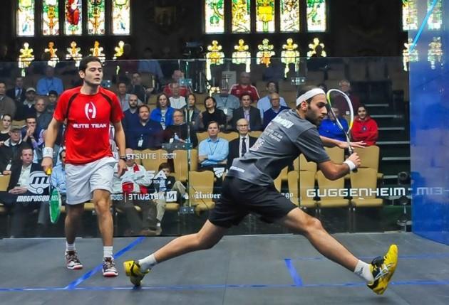 Marwan Elshorbagy steps across to the ball against Karim Abdel Gawad
