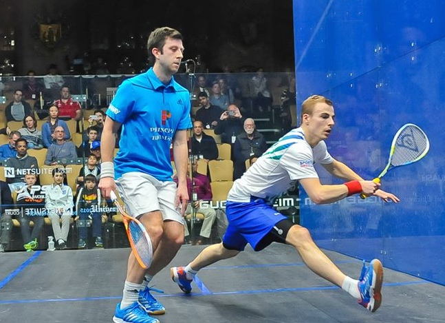 Nick Matthew moves forward against Daryl Selby