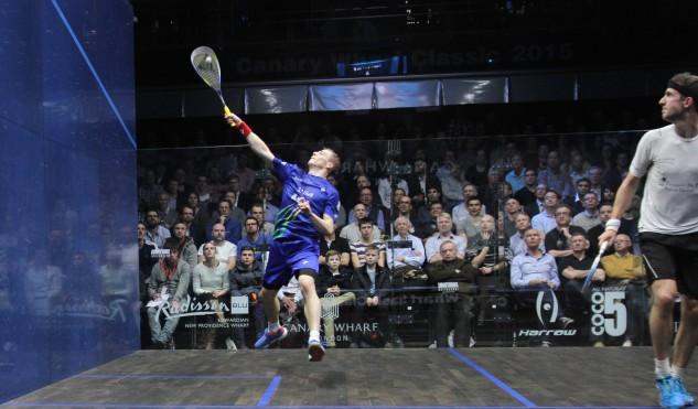 Nick Matthew leaps off the floor to volley against Eddie Charlton