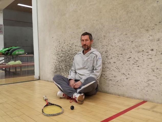 Squash author Tony Griffin on court