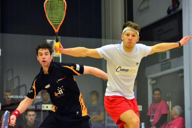 Neal Brooker in action against Mark Fuller at the Nationals