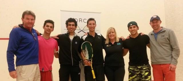 From left: Frank Schmidt, NorCal President, Juan Gomez (2nd), Mustafa Nabil (3rd), Charlie Johnson (Champion), Kim Clearkin (BCSF Squash Director), Josue Gomez (4th), Chris Walker.