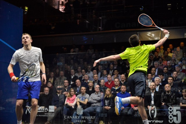 Back to front: Daryl Selby faces the back wall as he hits a volley against Nick Matthew
