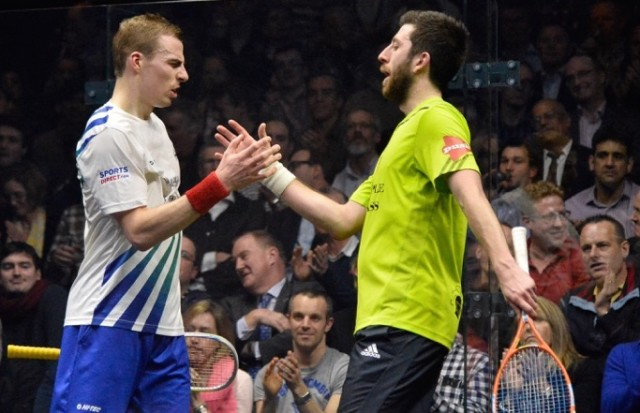 All over: Nick Matthew looks reluctant to accept victory after a No-Let call against Daryl Selby
