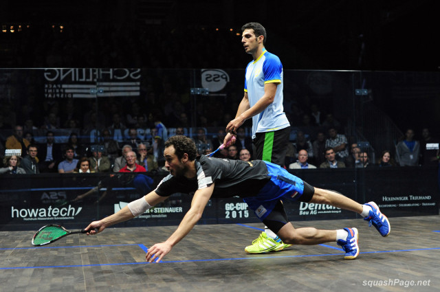 Chasing everything, Ramy Ashour dives across the floor