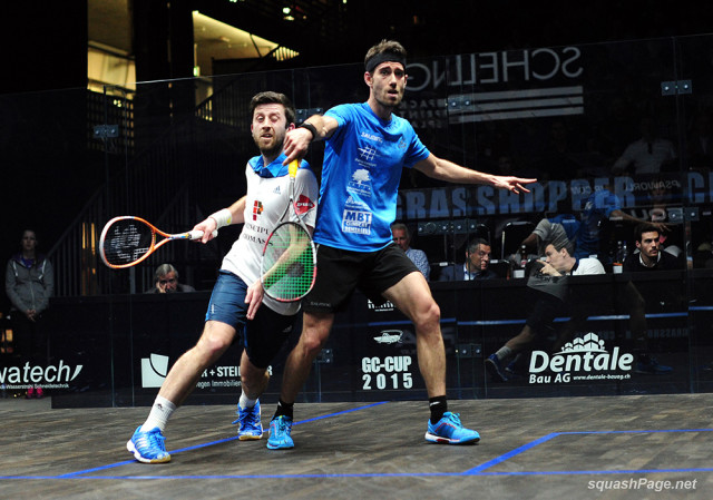 Daryl Selby and Borja Golan battle in mid-court