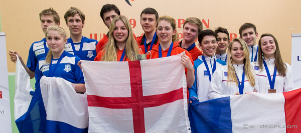 Team England (centre) celebrate their successes