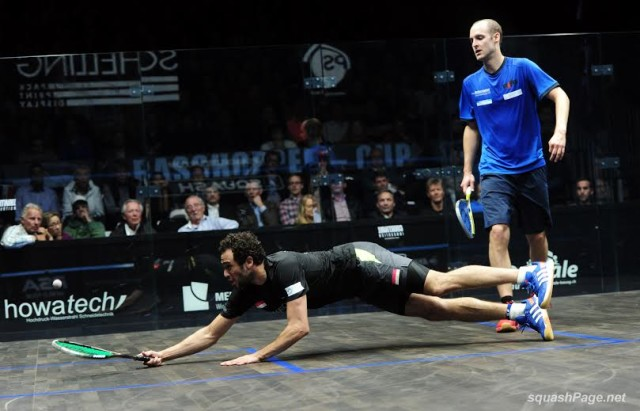 BOAST AND DIVE: Ramy Ashour is flat out against Nic Mueller