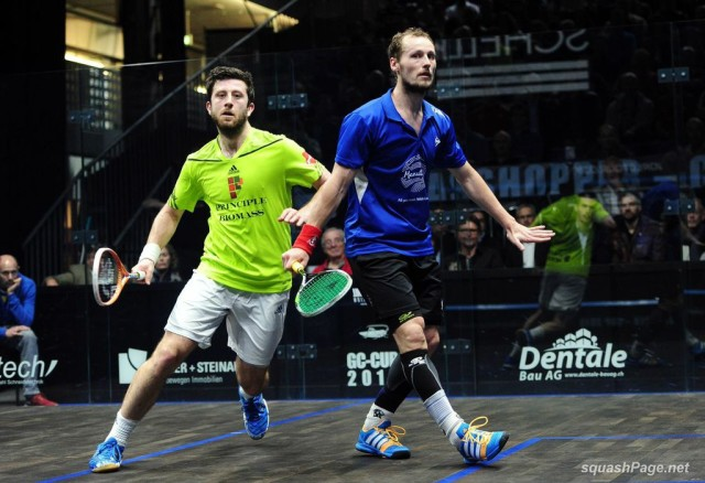Gregory Gaultier and Daryl Selby in action
