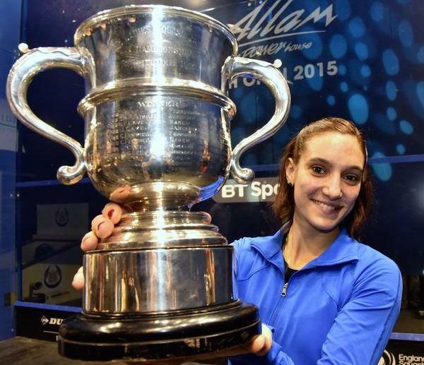 Camille Serme shows off the British Open trophy