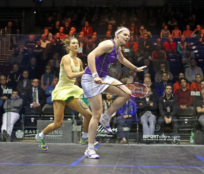 Sarah-Jane Perry in action against Donna Urquhart