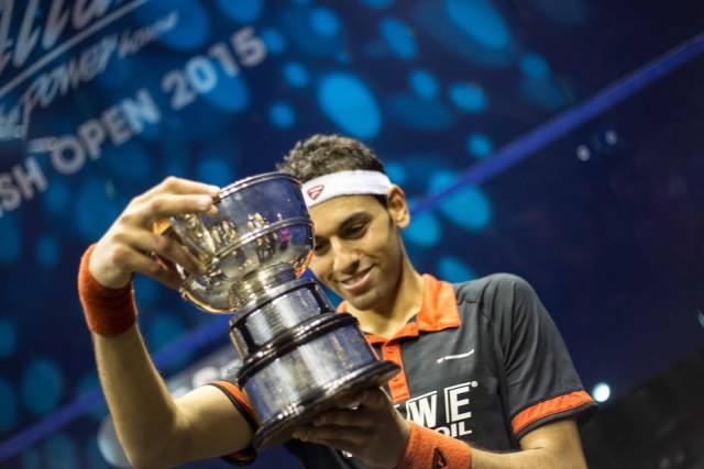 Eye on the prize: Mohamed Elshorbagy checks the name on the trophy