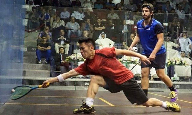 Leo Au at full stretch as he wins the Asian men's final
