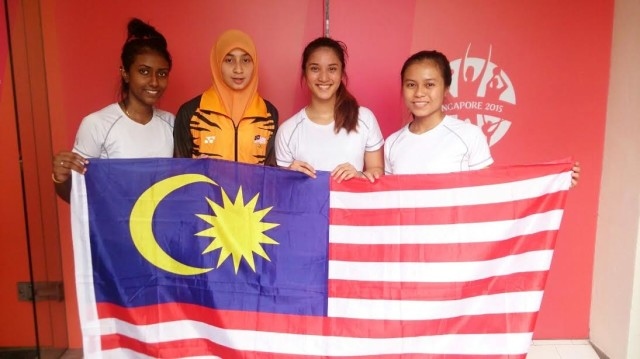 The winning women's team (l-r) Vanessa Raj, Zulhijjah Azan, Rachel Arnold and Teh Min Jie
